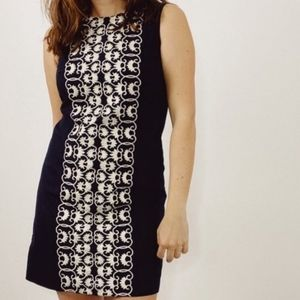 Anthropologie Tabitha Navy/White Embroidered Drs 8